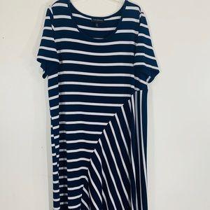 LANE BRYANT Navy Striped Short Sleeve Dress